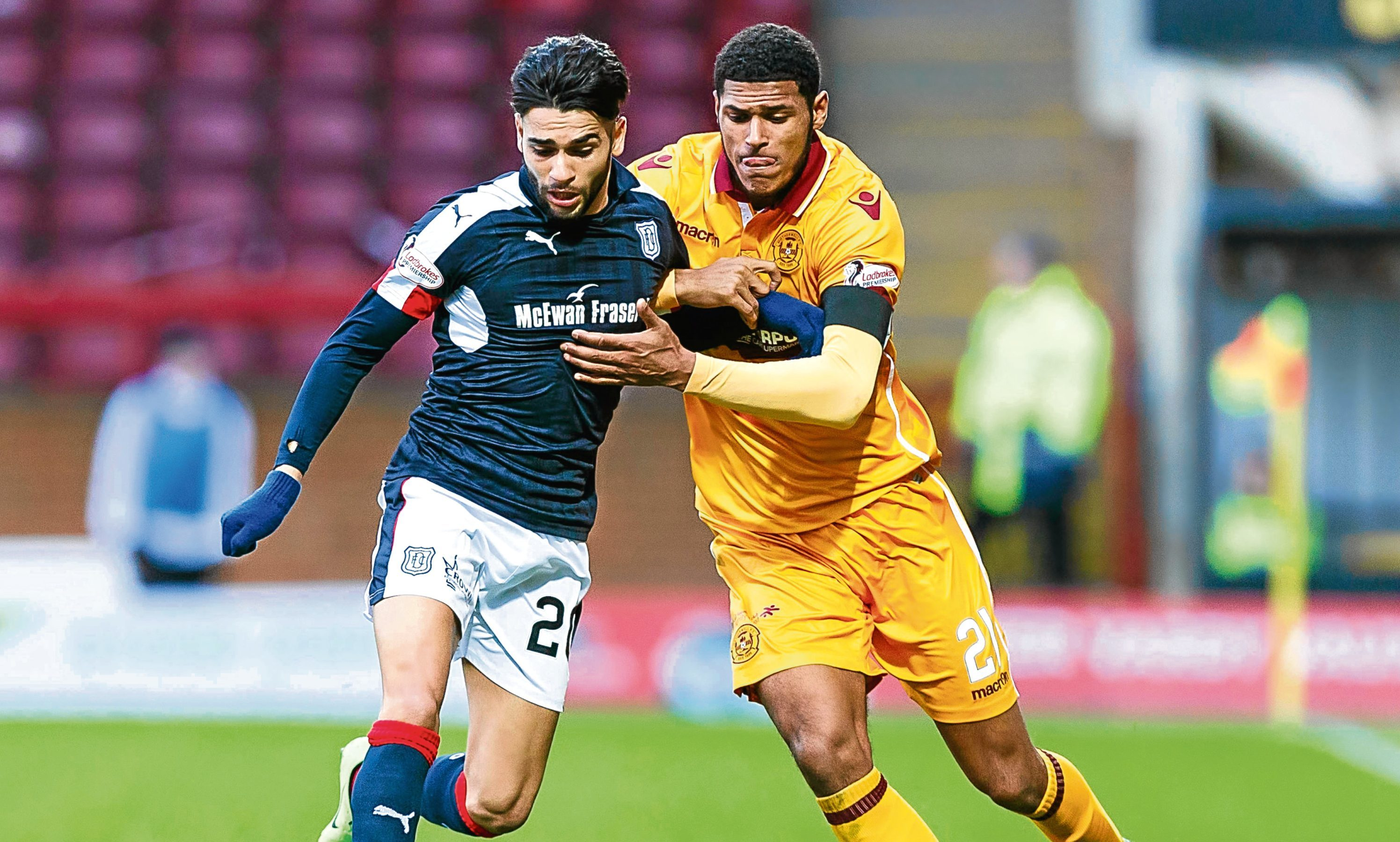 Faissal El Bakhtaoui in action against Motherwell's Zak Jules in last year's 5-1 win for Dundee