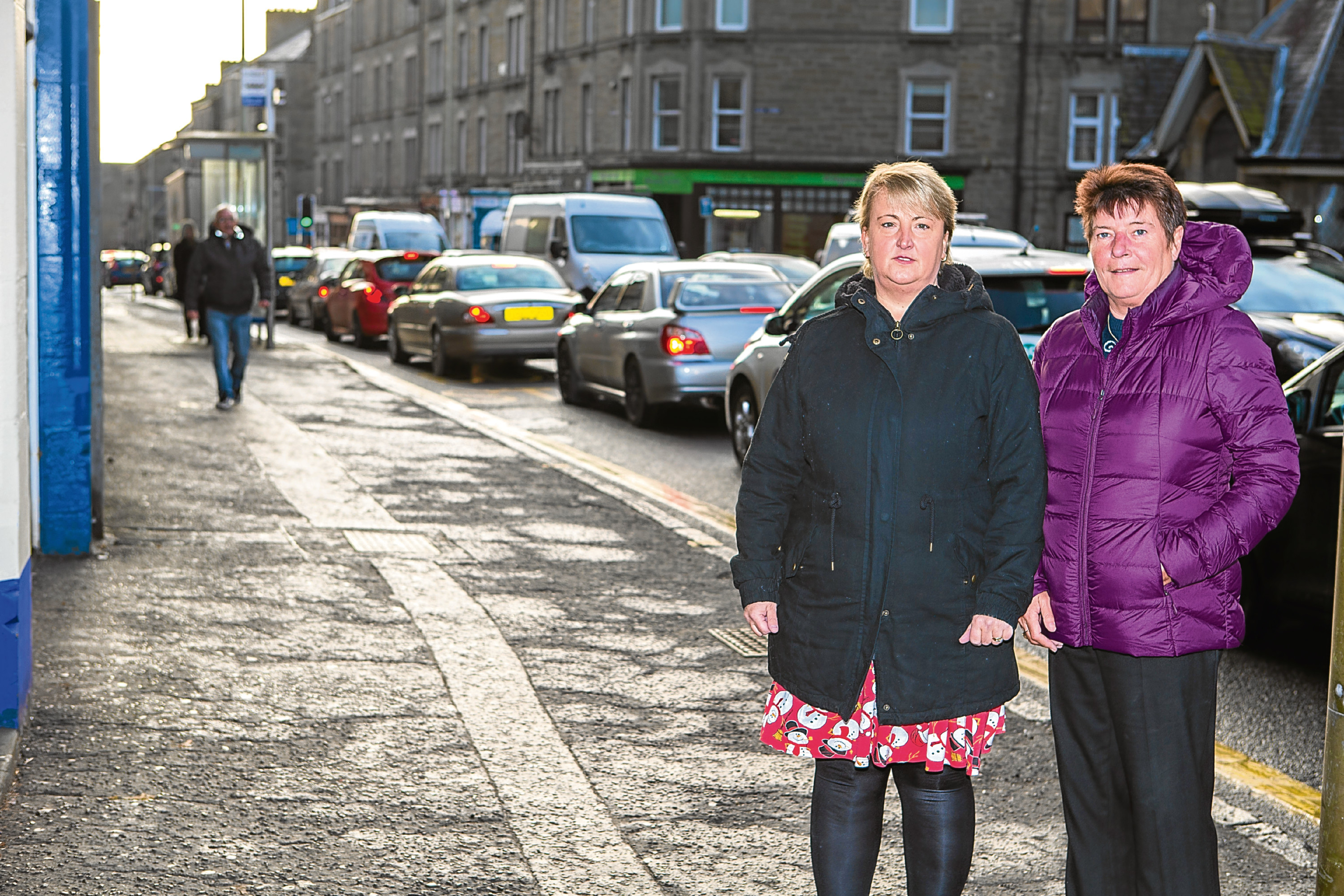 Elaine McDade and Angela Muir, from Goodfellow and Steven Bakers, who are concerned the closure will affect business.