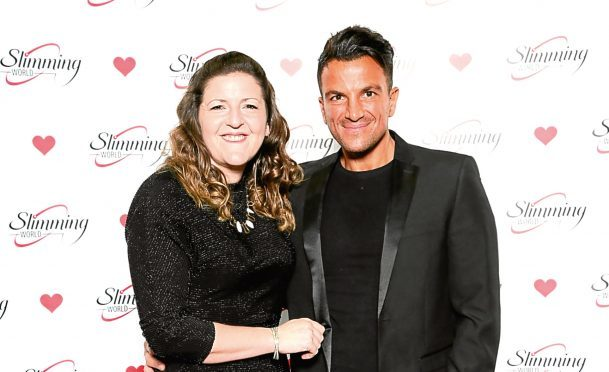 Rachel with Peter Andre at the awards do