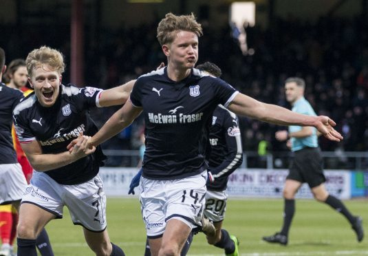 Mark O'Hara celebrates his goal in the 3-0 win over Partick