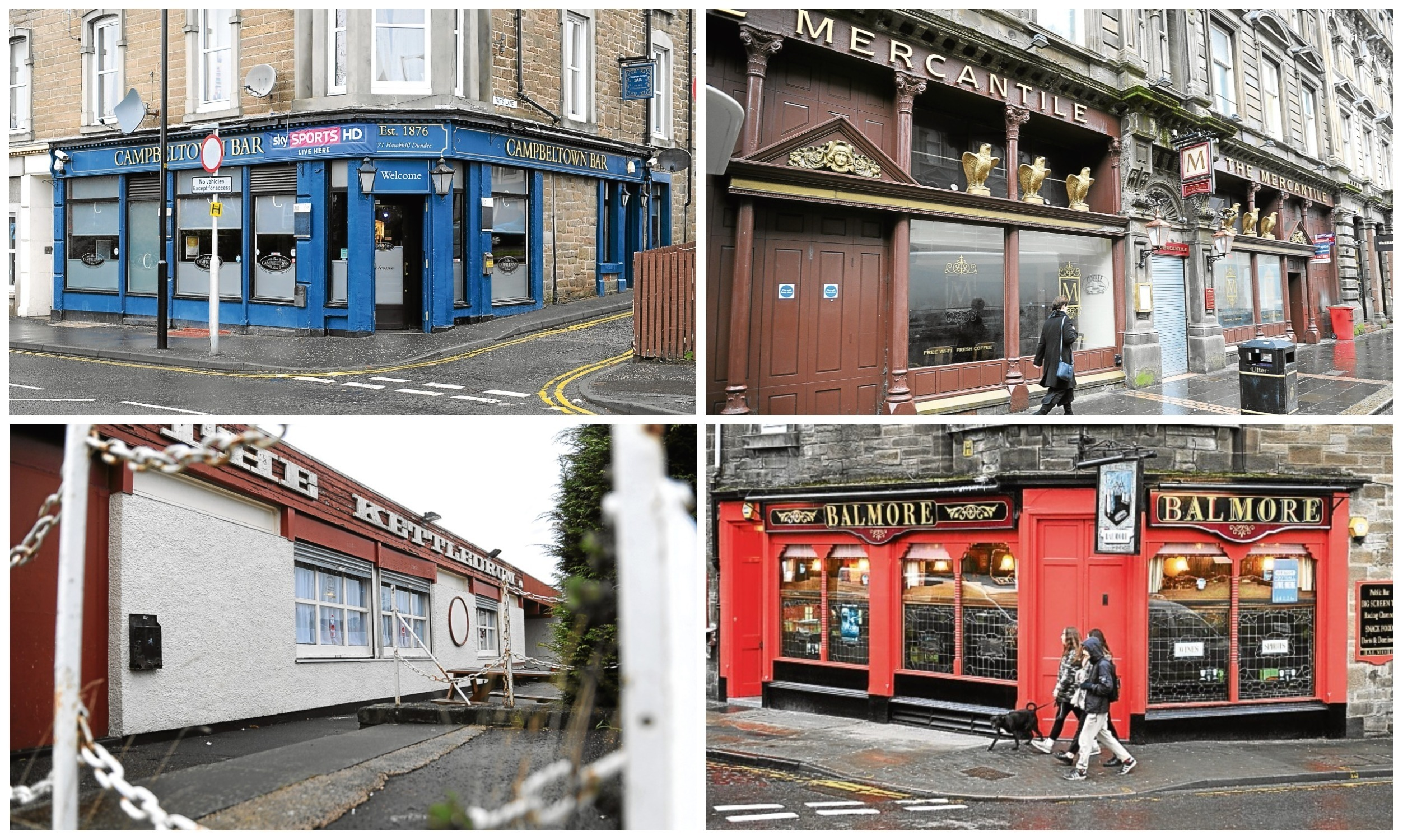 Some of the Dundee pubs that have either closed or are up for sale or lease.