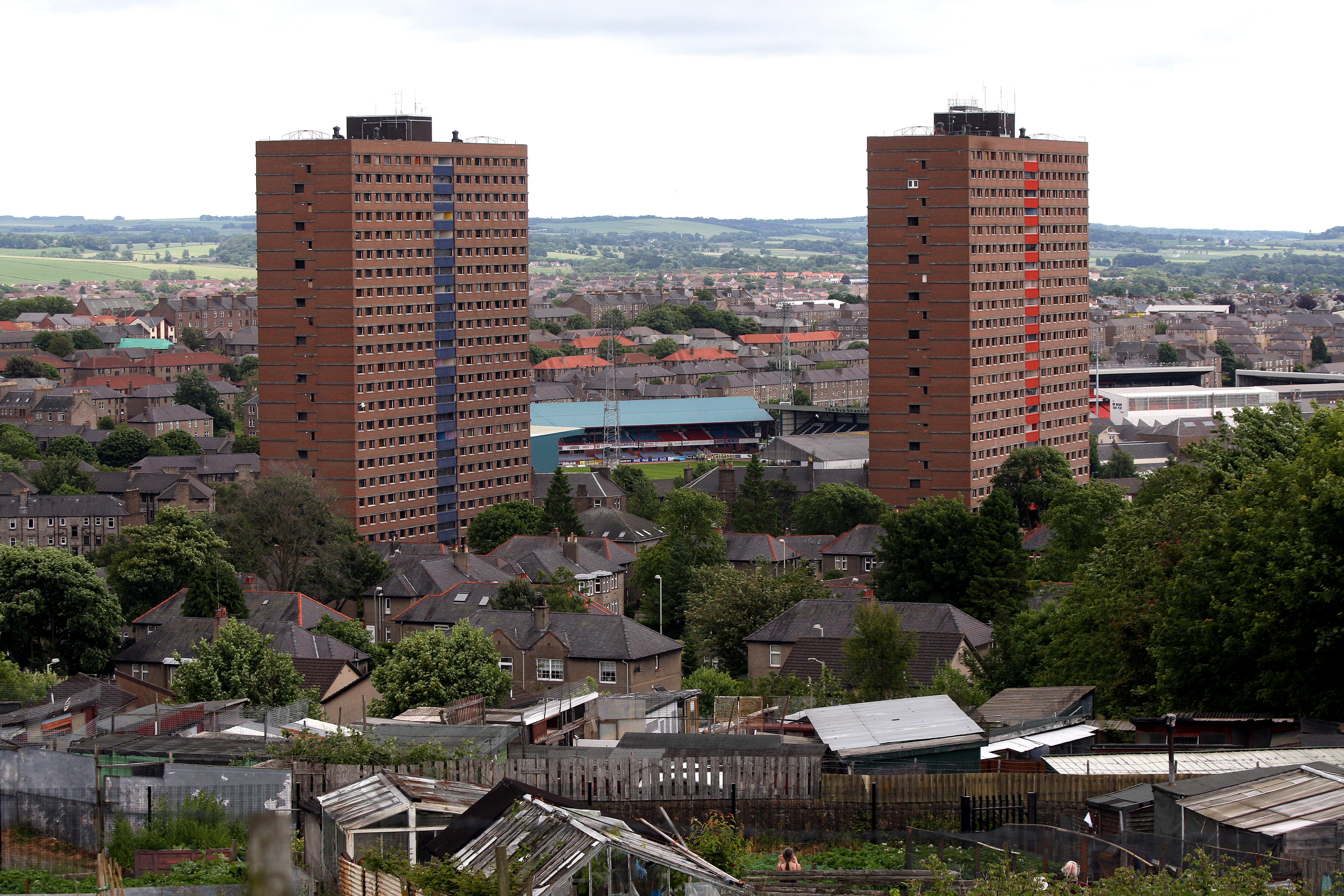 The Derby Street multis moments before the were razed to the ground in 2013.