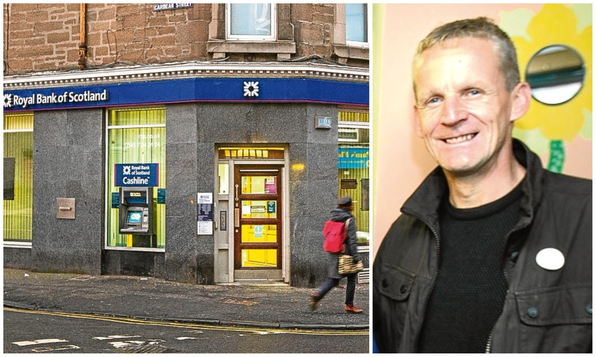The under-threat RBS branch in Stobswell. Right, community campaigner Colin Clement.