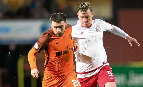 The on-loan full-back saw first-team action for the Tangerines again after being recalled from League Two side Montrose for Tuesday's game.