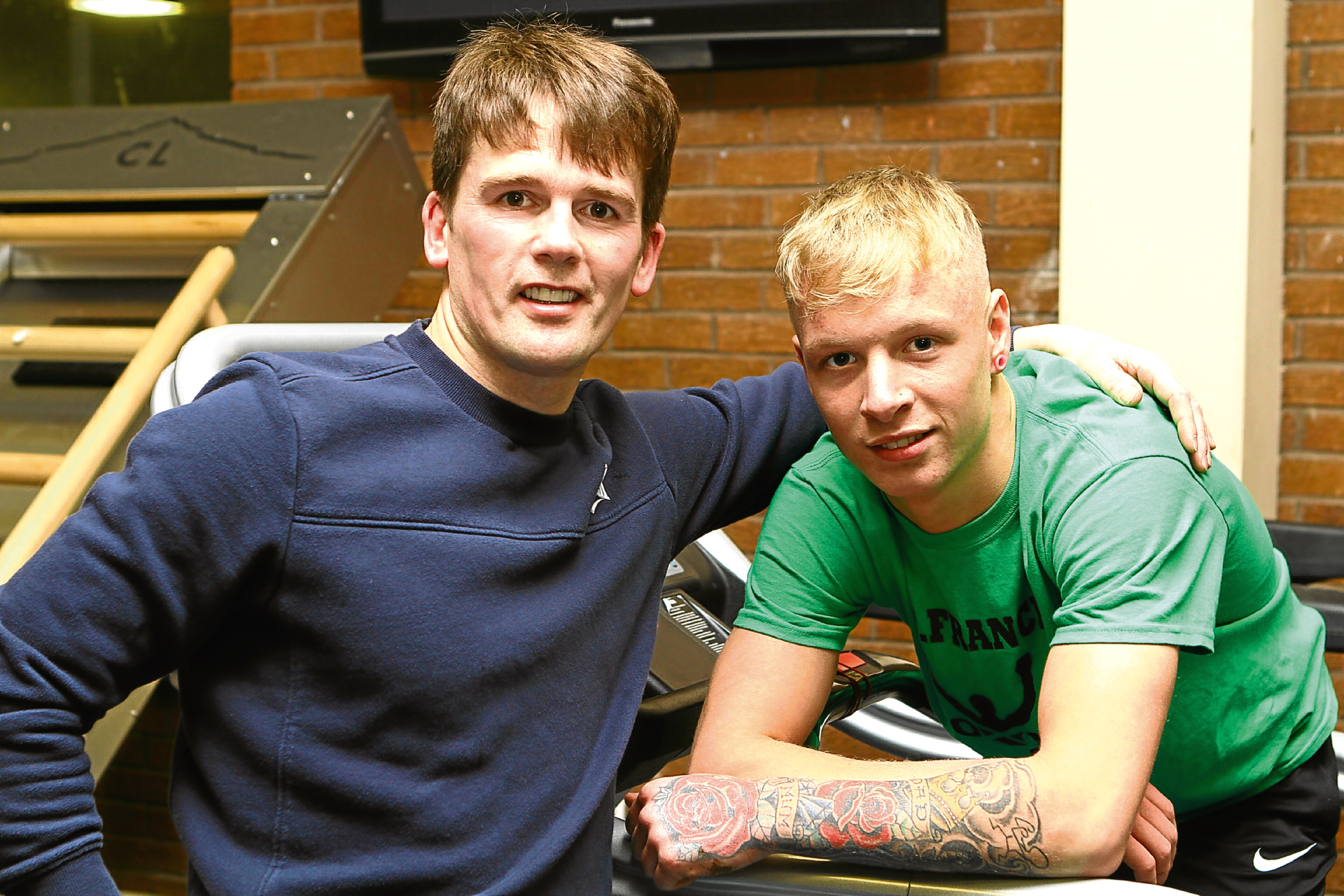 Kenny Rattray, left, with Darren Barty, at the gym in the Ardler Complex