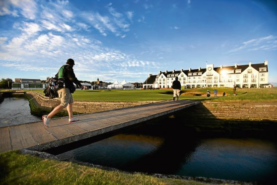 Golfers on the approach to the 18th green at Carnoustie Championship Course