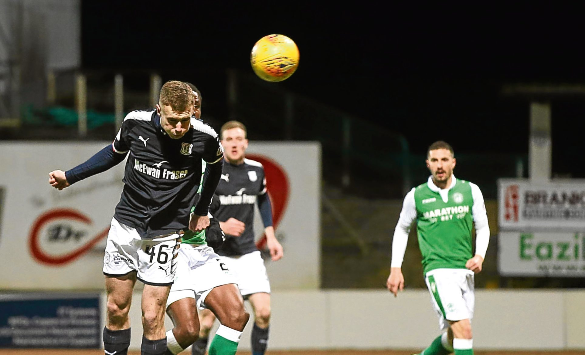 Young striker Matty Henvey had his chance to notch a first senior goal but powered his header wide in the closing stages of the 1-0 defeat to Hibs.