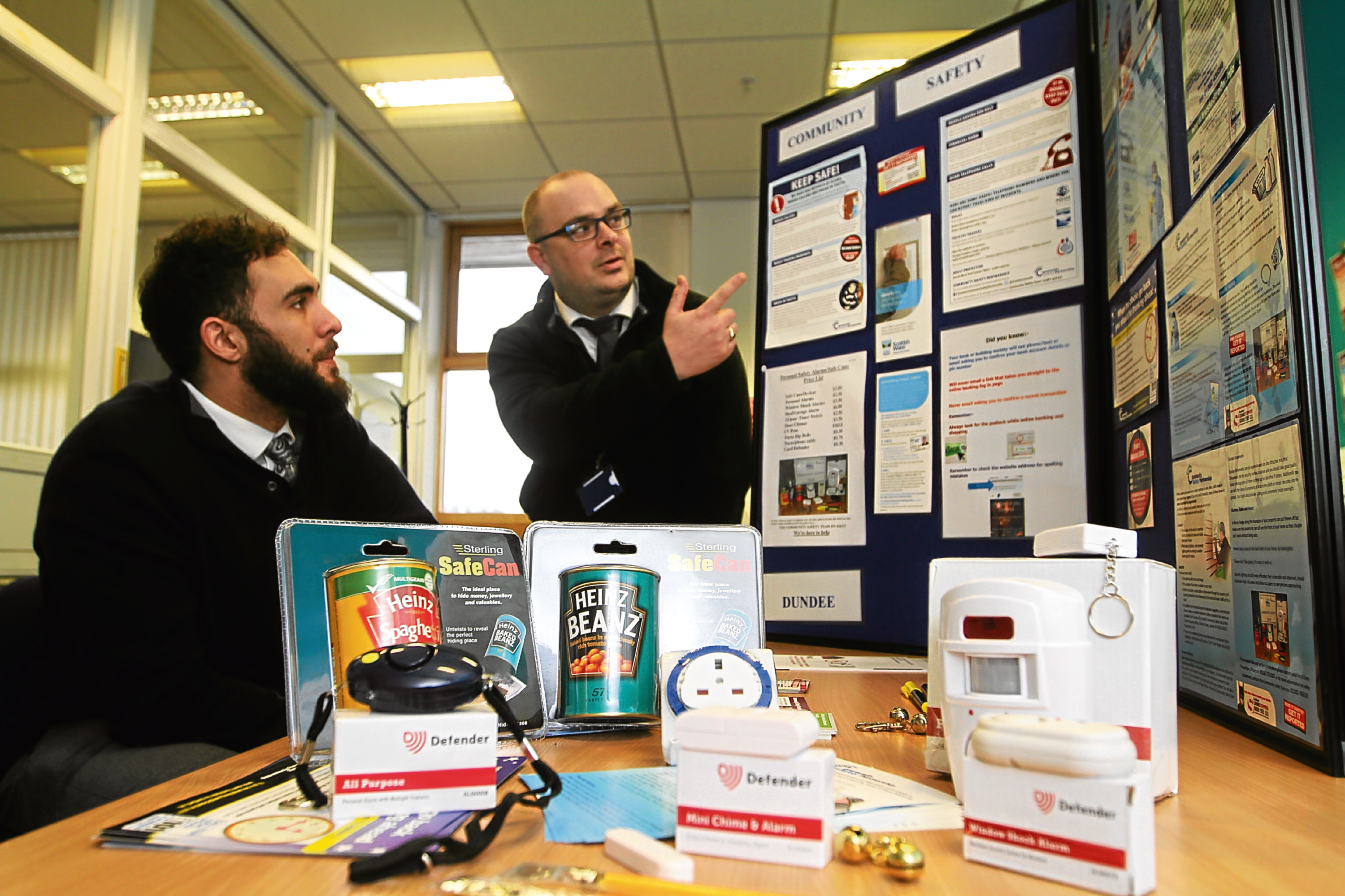 Council community safety manager Garyth Jardine  shows our reporter some of the safety products available.