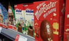 Easter eggs on display at a Co-op store