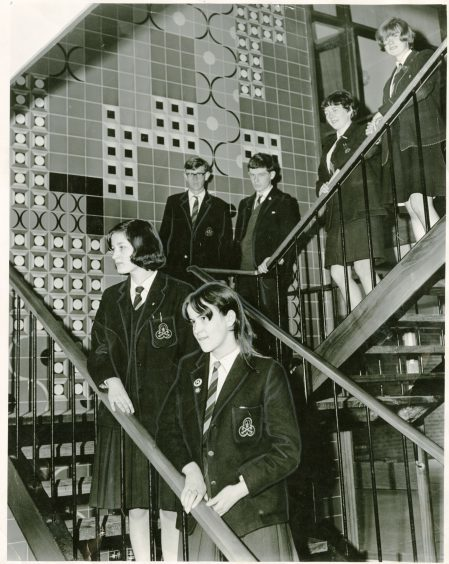 Pupils on one of the stairwells at the school (May 1966)