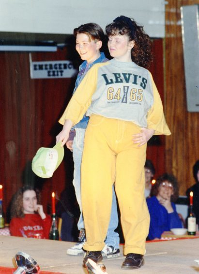 Two pupils on the catwalk at a Lawside fashion show. We don't have their names – do you recognised them? (March 1991)