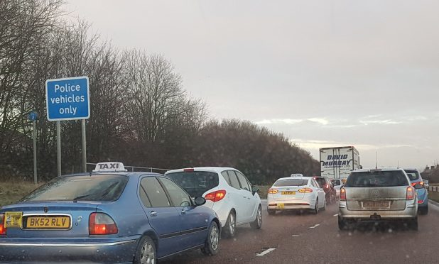 Traffic at the East Balgillo roundabout at 8.45am today
