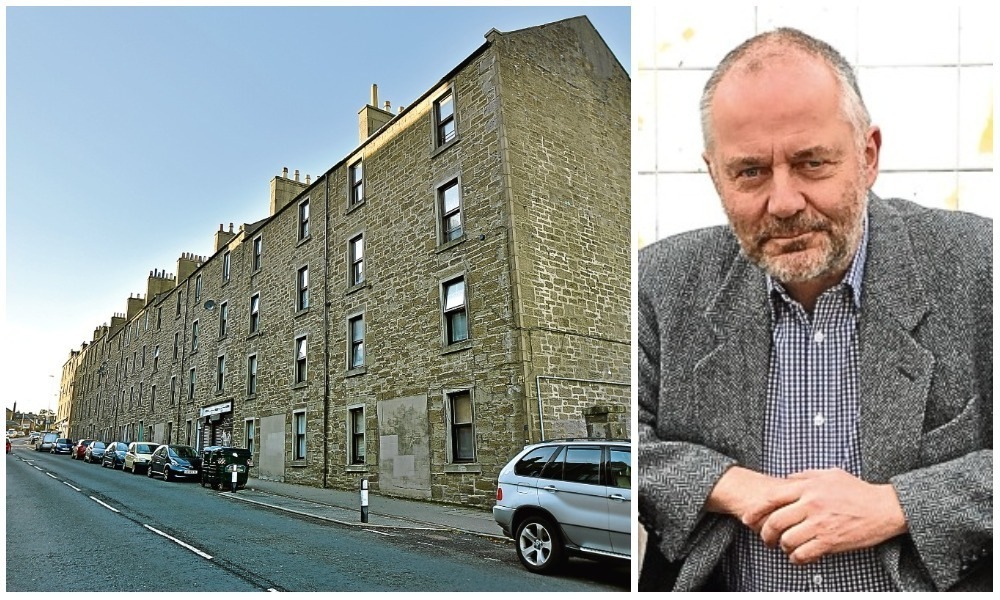 The flats which are set to be demolished. Right: Jimmy Black.