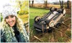 Sheli (left) was travelling home after visiting friends when her jeep skidded on black ice and flipped over.