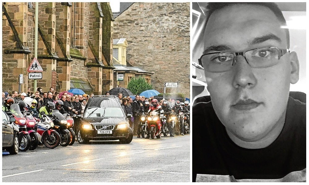 Bikers outside the St John the Baptist RC Church after Daniel's funeral