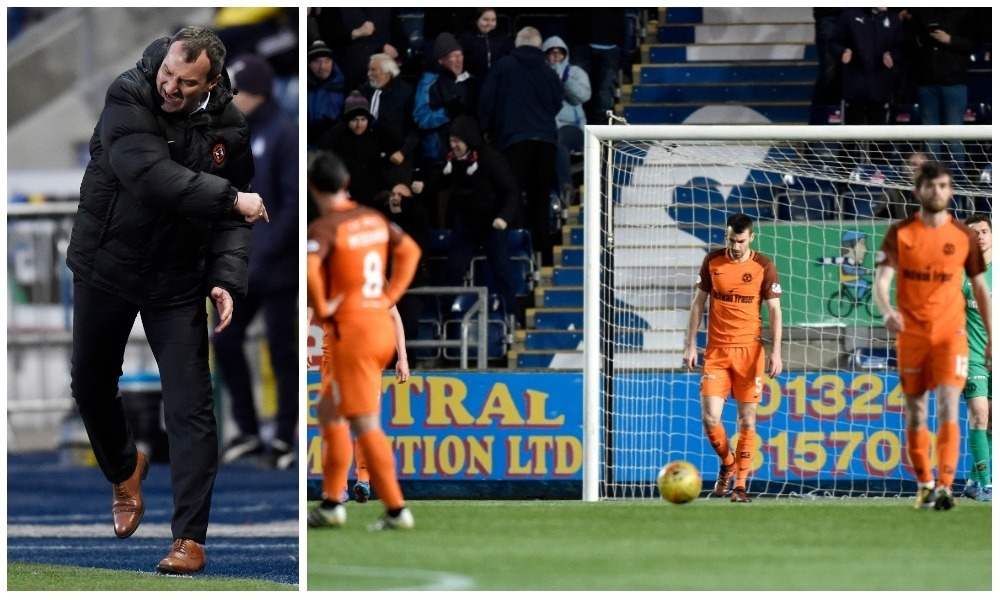 Csaba Laszlo shows his frustrations as his side are battered in Falkirk.