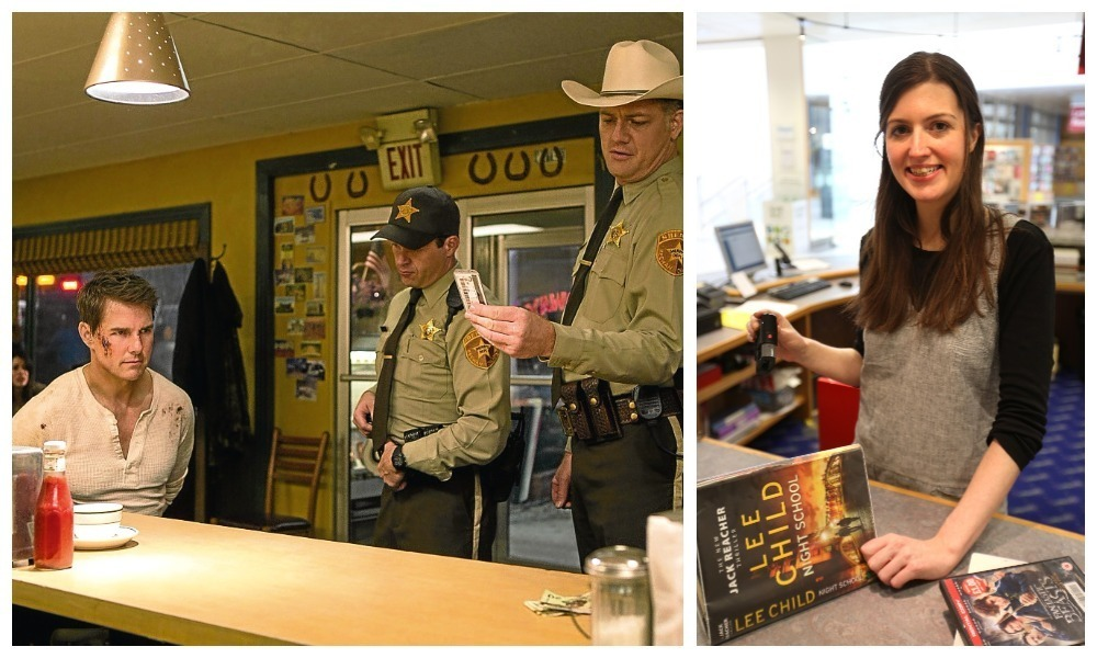 Tom Cruise plays the lead character in Jack Reacher: Never Go Back. Right: Library assistant Jennifer Curran.