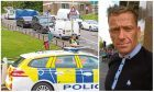 Police at the scene in Lawton Road and Lawton Terrace in May last year. Right: Gary McMillan