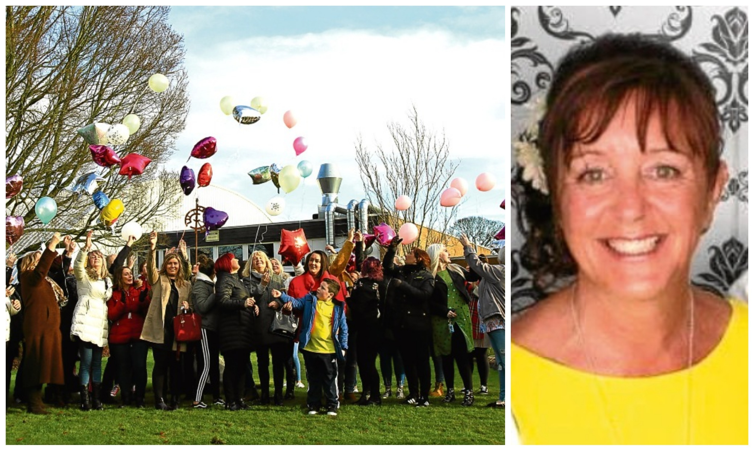 Family, friends and college staff release balloons in memory of Wendy Wigley (pictured inset) at Dundee & Angus College's Kingsway Campus.
