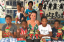 Elaine Harris with some of the children at her pop-up clinic on Sal island in Cape Verde