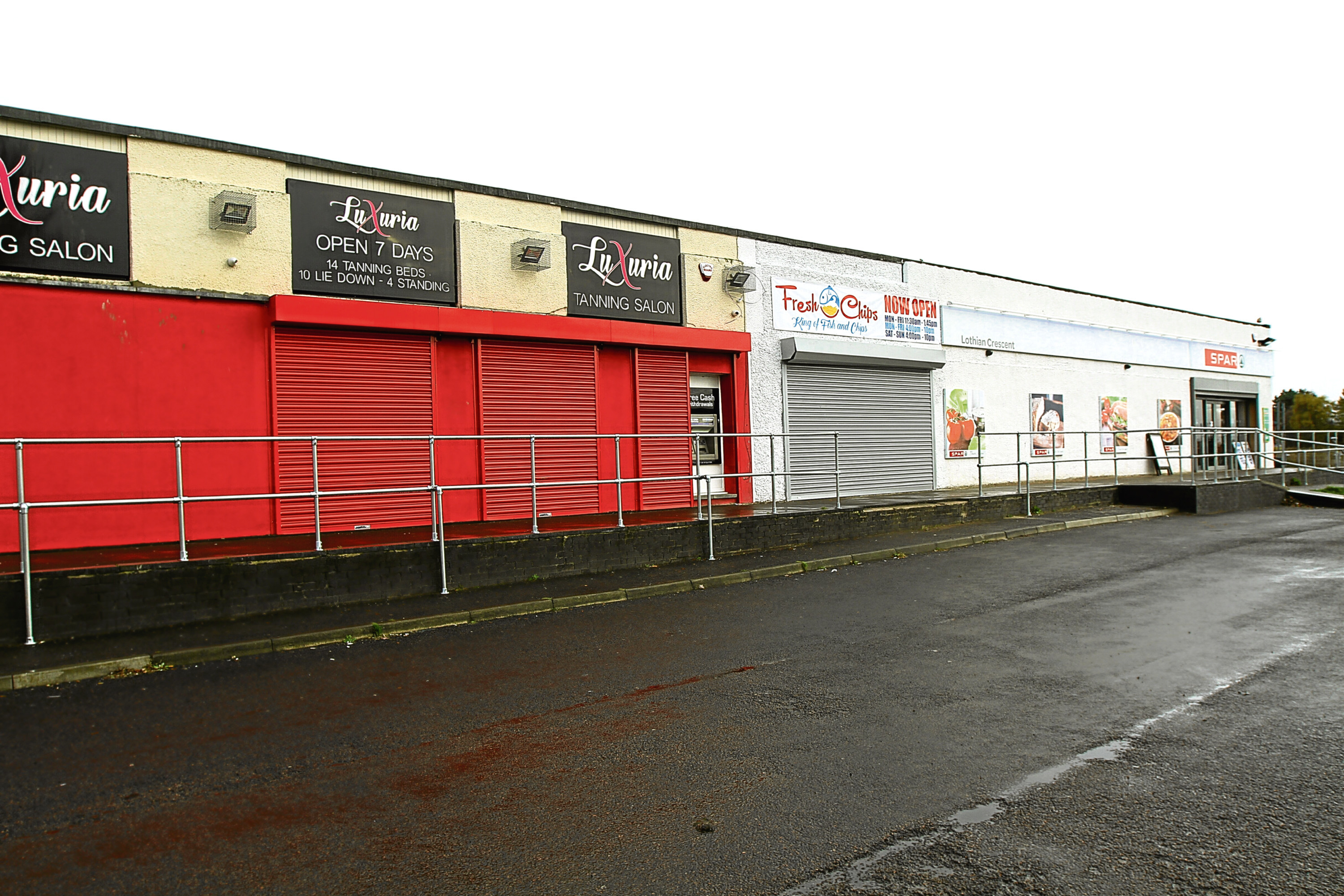 The retail units where the Whitfield Labour Club used to be in Lothian Crescent, Whitfield