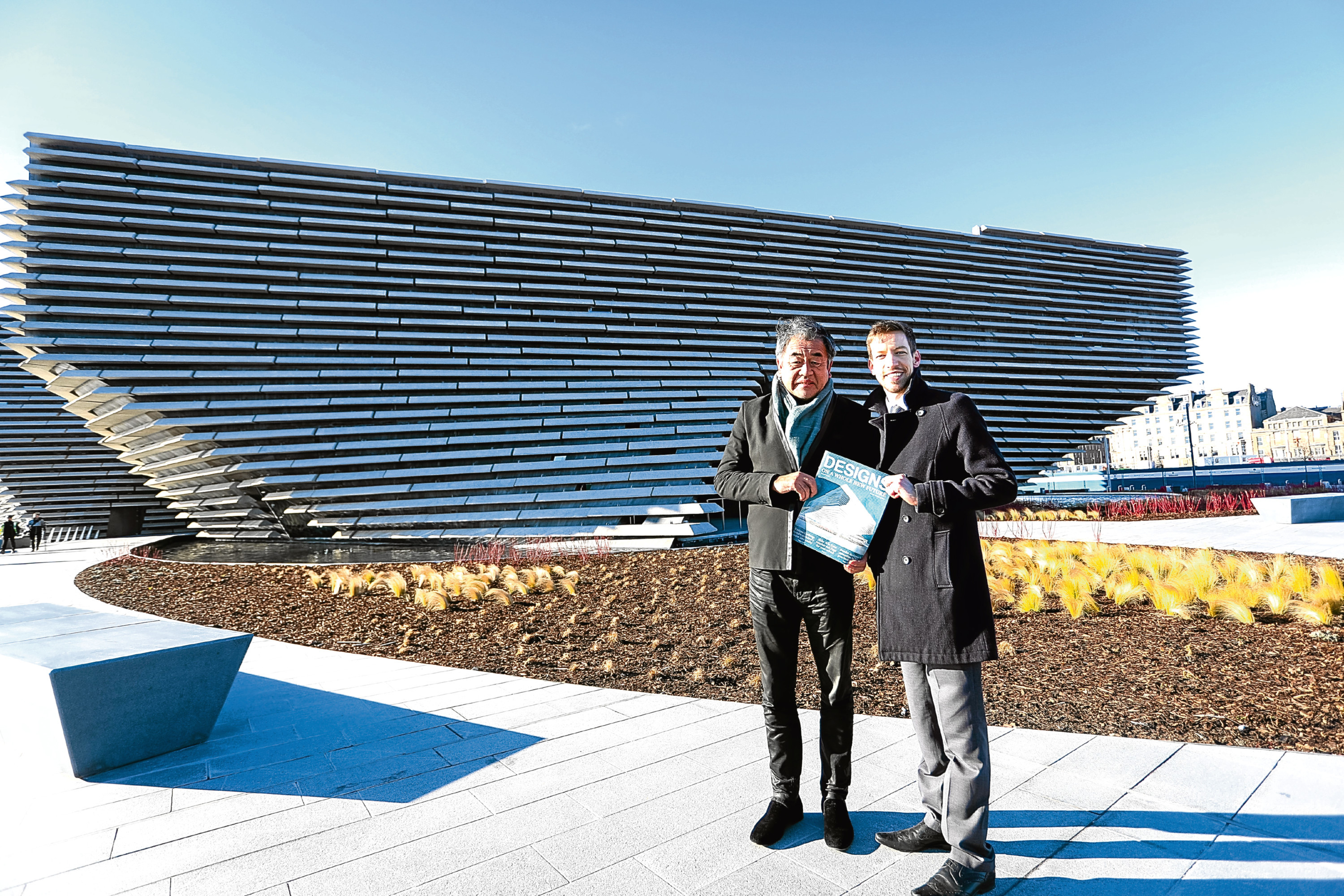 V&A designer Kengo Kuma and Dundee council leader John Alexander outside the building.