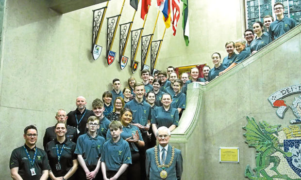 Picture shows Mr Borthwick with the award winners in City Chambers.