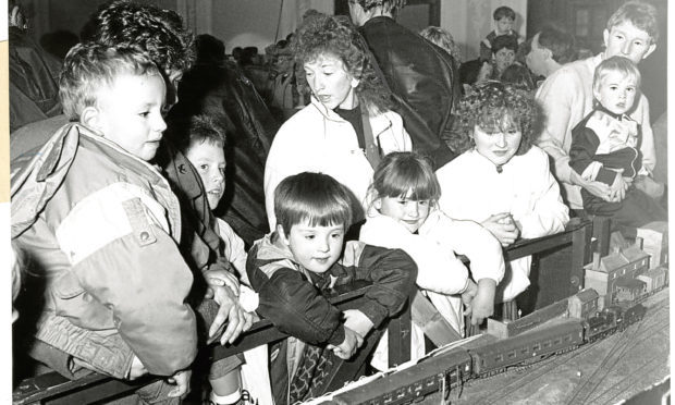 Children marvel at the Model Railway Club Exhibition in the Marryat Hall, Dundee.
