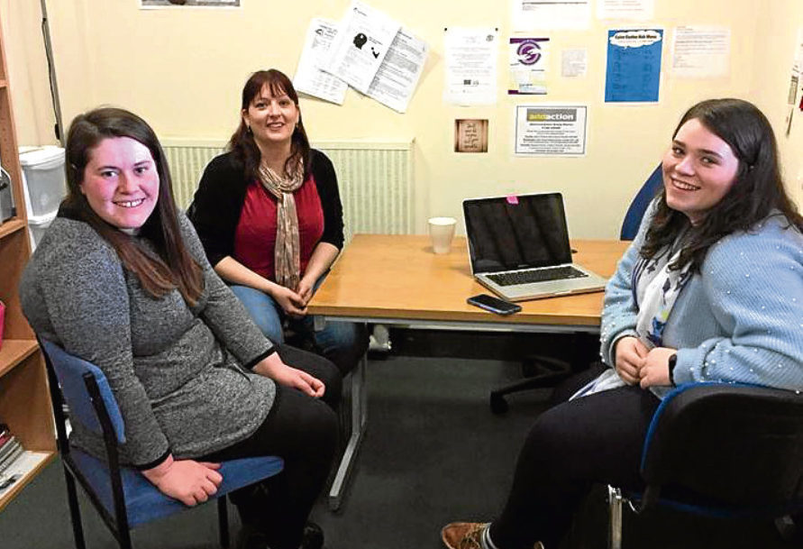 Pictured are Caitlin Thompson, Ashleigh Markie and Suzanne McGuggon at the centre.
