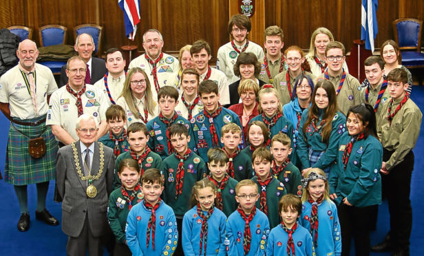 The 5th Downfield Scouts celebrated their 100th year anniversary with Lord Provost Ian Borthwick at City Chambers.