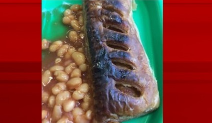 The burnt sausage roll and beans, which sparked the investigation