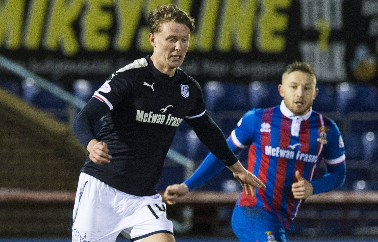 Mark O'Hara leaves former Dee John Baird trailing in his wake during Tuesday's 1-0 Scottish Cup win at Inverness.