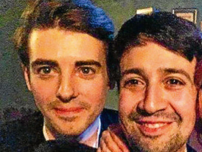 Simon Gordon (left) with Lin Manuel Miranda, the writer of Hamilton, who came to watch Moulin Rouge