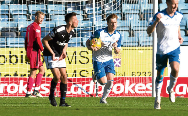 Cammy Kerr berates his team-mates after allowing St Johnstone back into the game when Liam Craig converted a penalty to make for a tense finish at Dens in September.