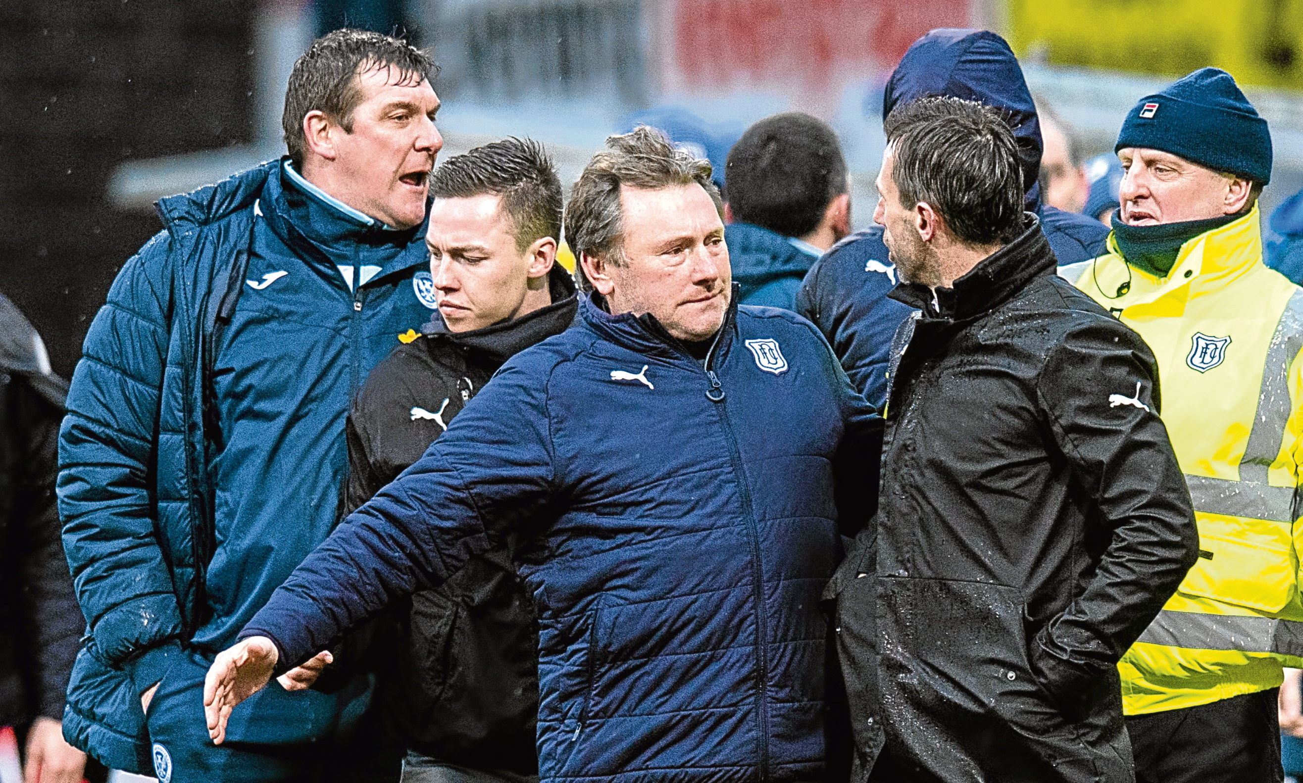 An altercation between managers Tommy Wright and Neil McCann leads to them being escorted away by Dundee youth development coach Jimmy Boyle