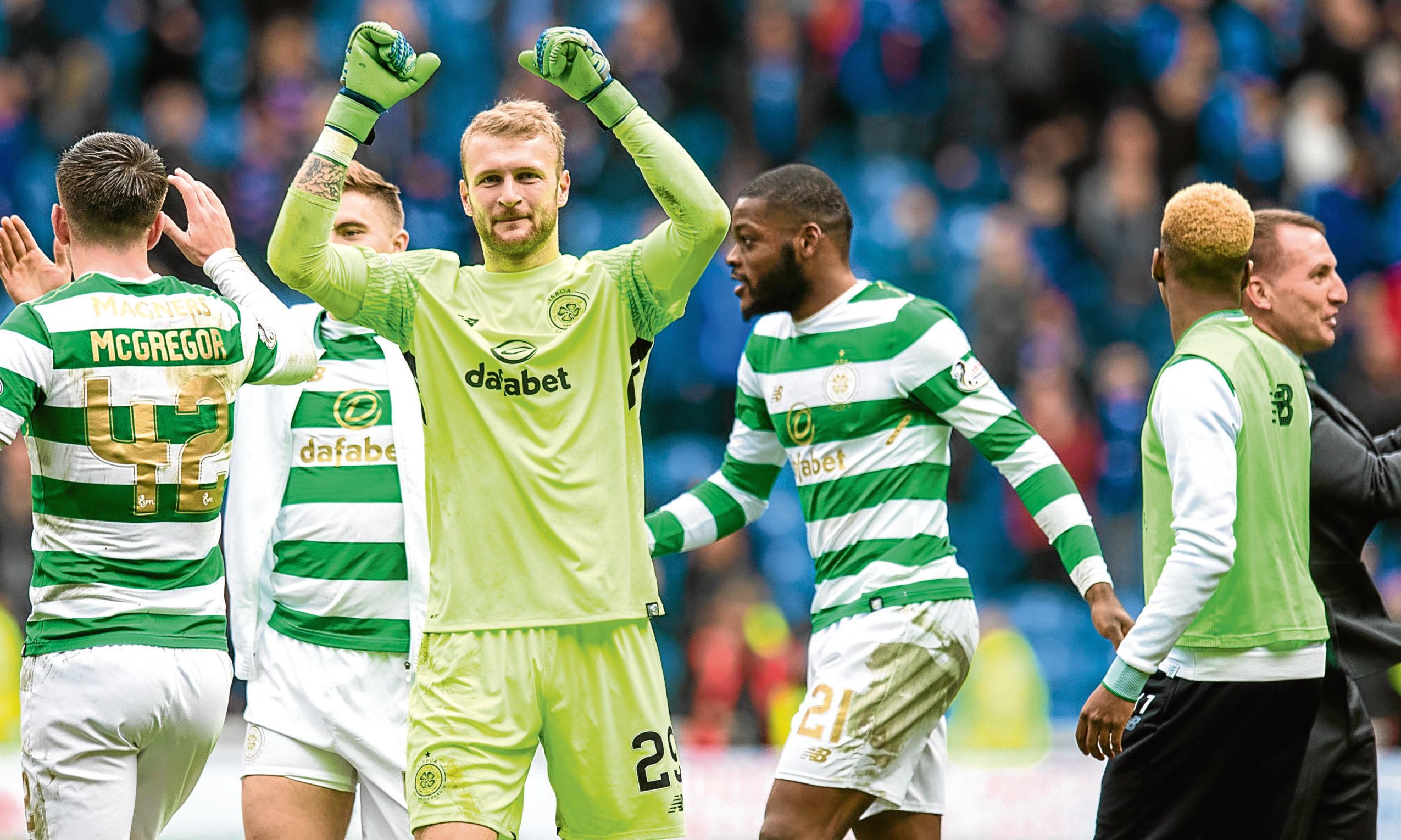 Celtic's Scott Bain celebrates at full time