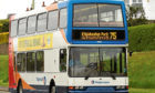 A number 75 Stagecoach bus on Dundee Road heading into the centre of Dundee from Ethiebeaton Park