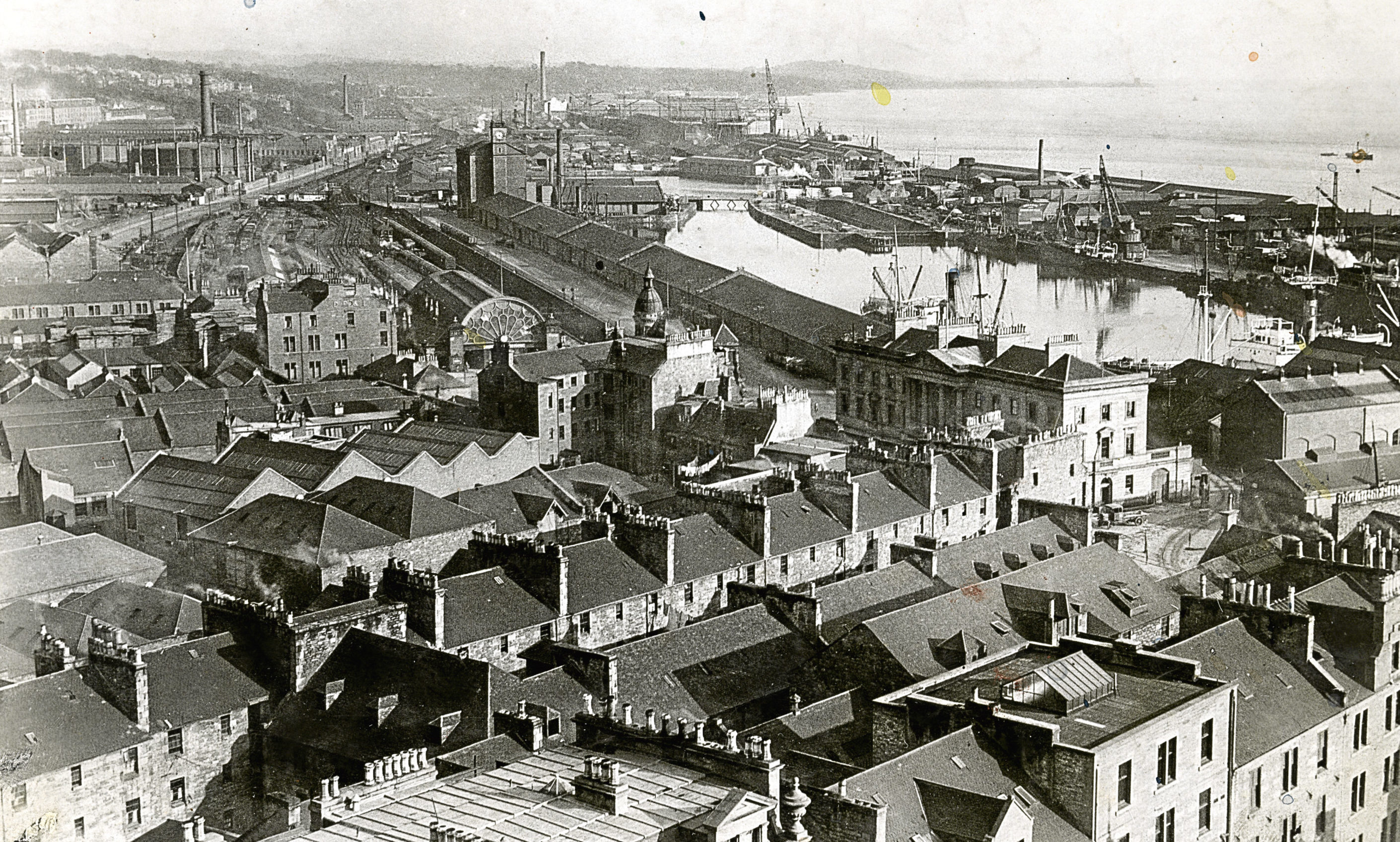 A view over the Dundee Waterfront and Victoria Dock from the spire of St Paul's Cathedral, November 1925
