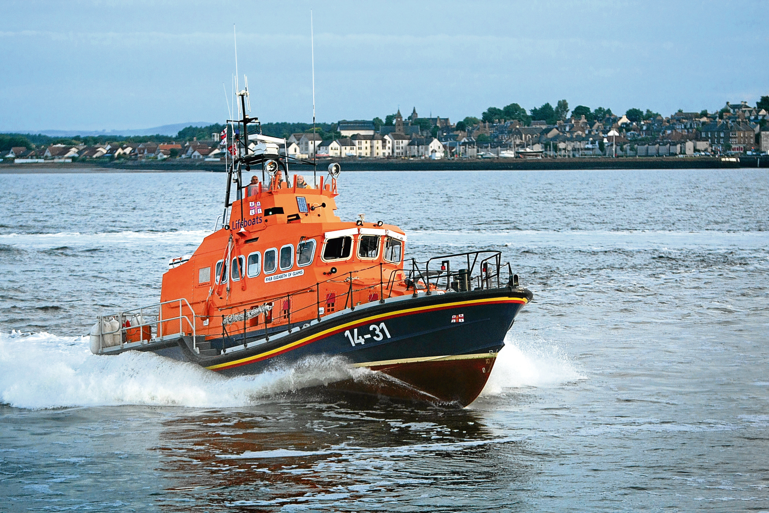 The Broughty Ferry RNLI Lifeboat on exercise on the Tay (stock image)