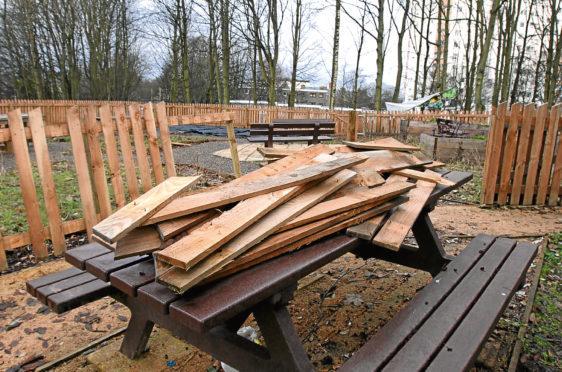 Vandalism and broken fences at Whorterbank community garden