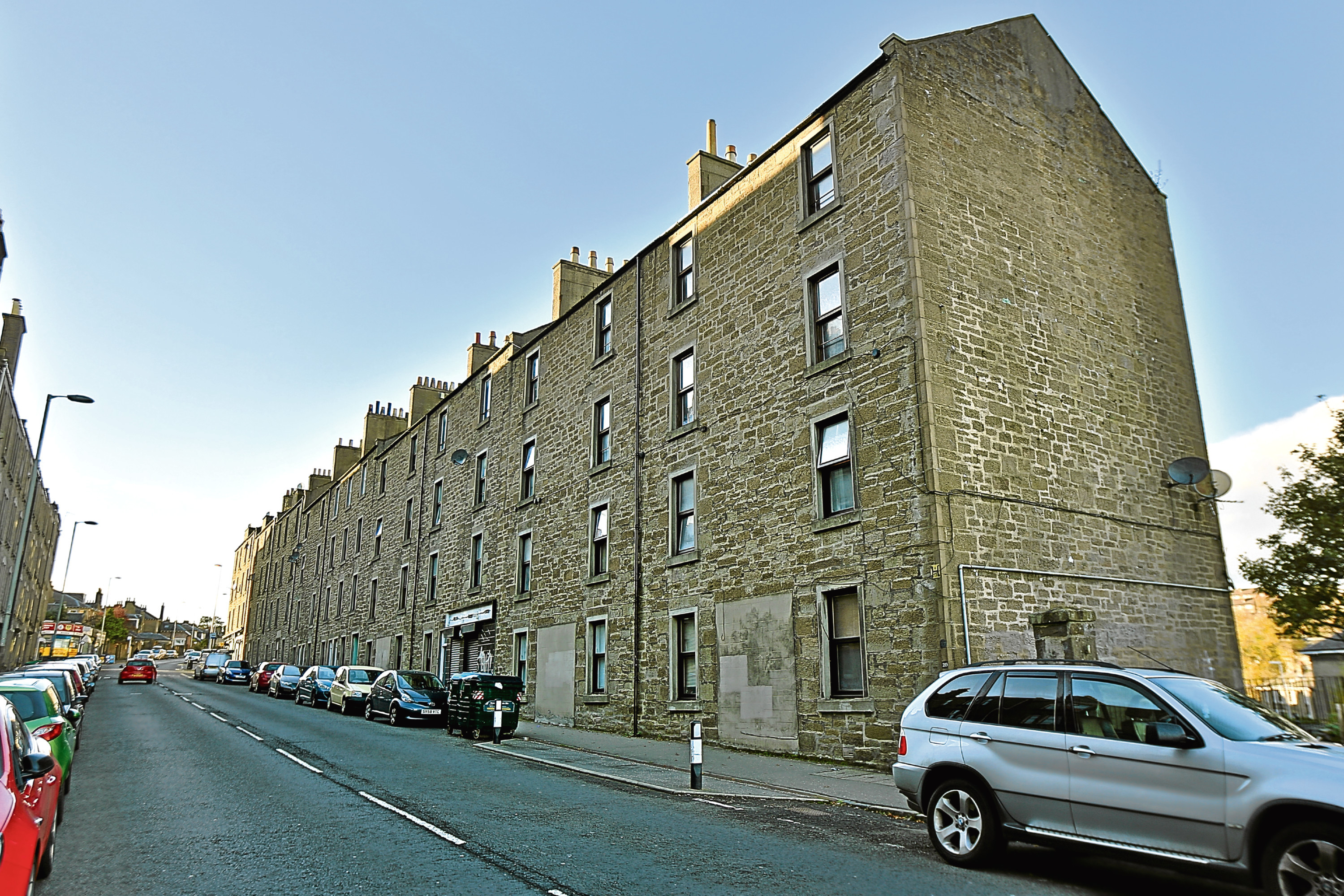 The block of flats under threat at Blackness Road.