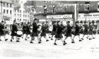 The MacKenzie Caledonian Juvenille Pipe Band performing in the City Square, watched by a large crowd.  19/7/1978.  B26 1978-07-19 MacKenzie Caledonian Juvenile Pipe Band (C)DCT