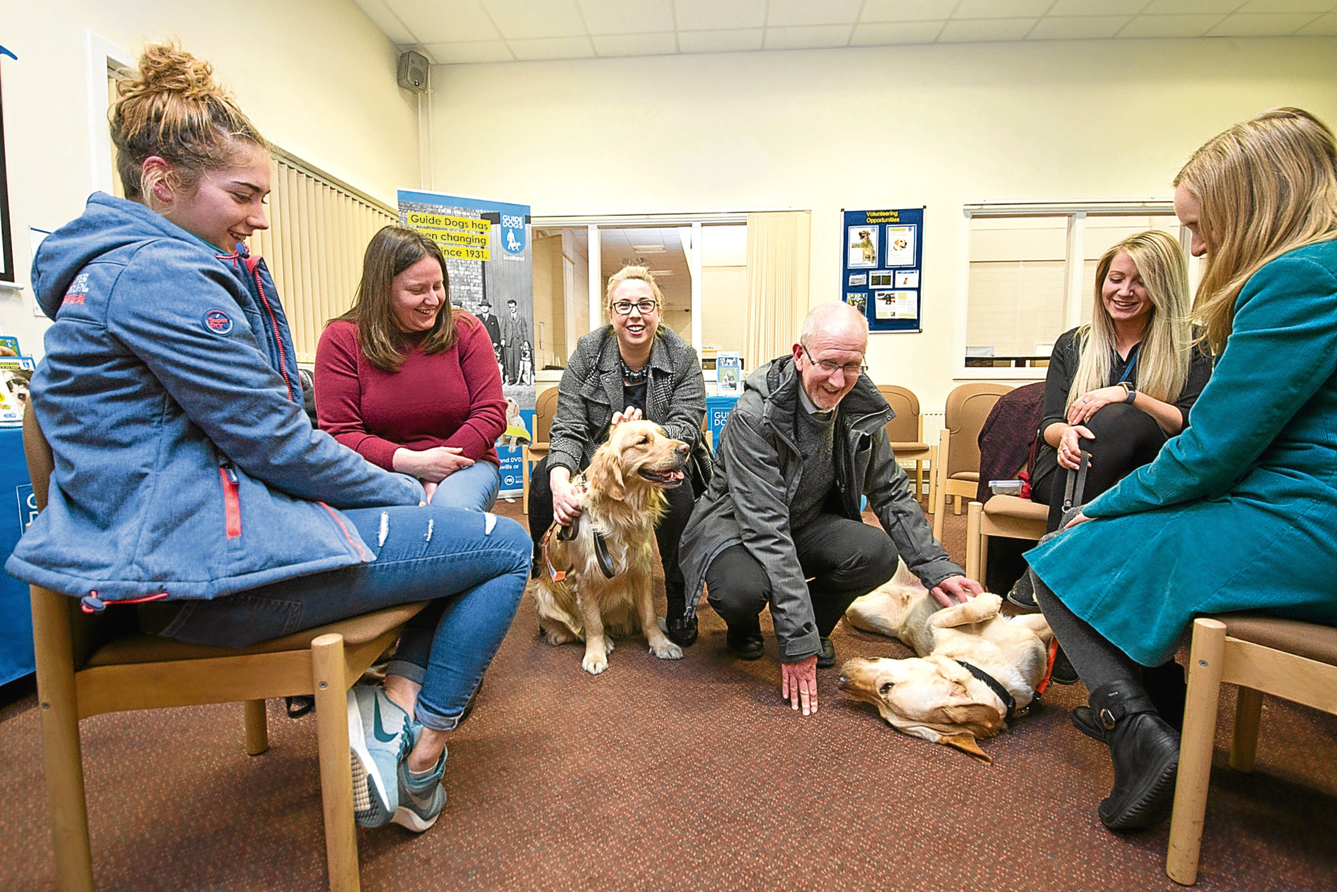 Picture shows attendees with trainee Guide Dogs and staff at the event.