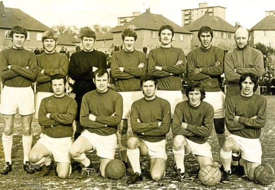 Jimmy Gowans (front right) with his Lochee United teammates