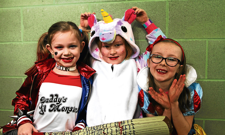 Kaira Crawford, 7 as Harley Quinn, Emily Low, 7 as one of the 3 Unicorns and Eva Lennox, 6 as Snow White.