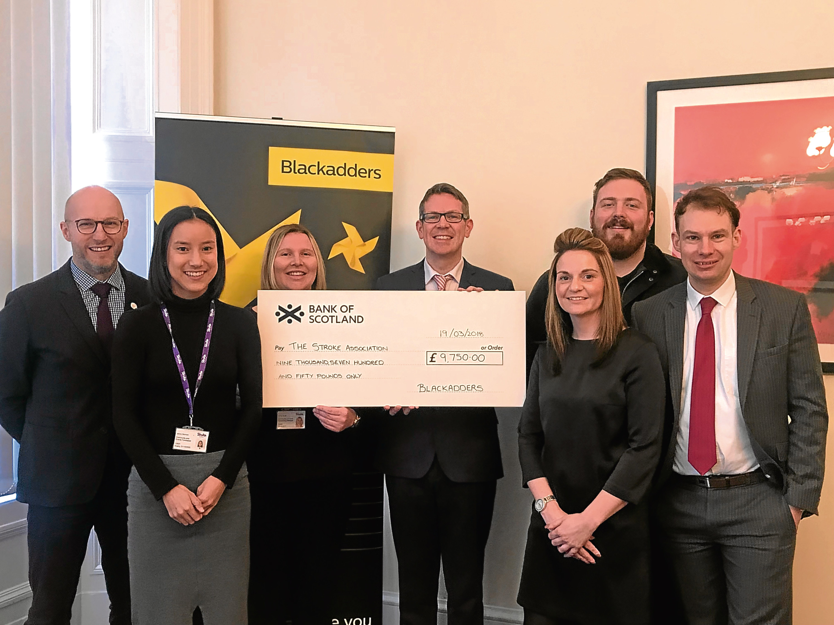Pictured are (from left) Simon Simpson, Jenny Selman, Kirsty Scott, Simon, Laura, Derek Mawhinney and Jack.