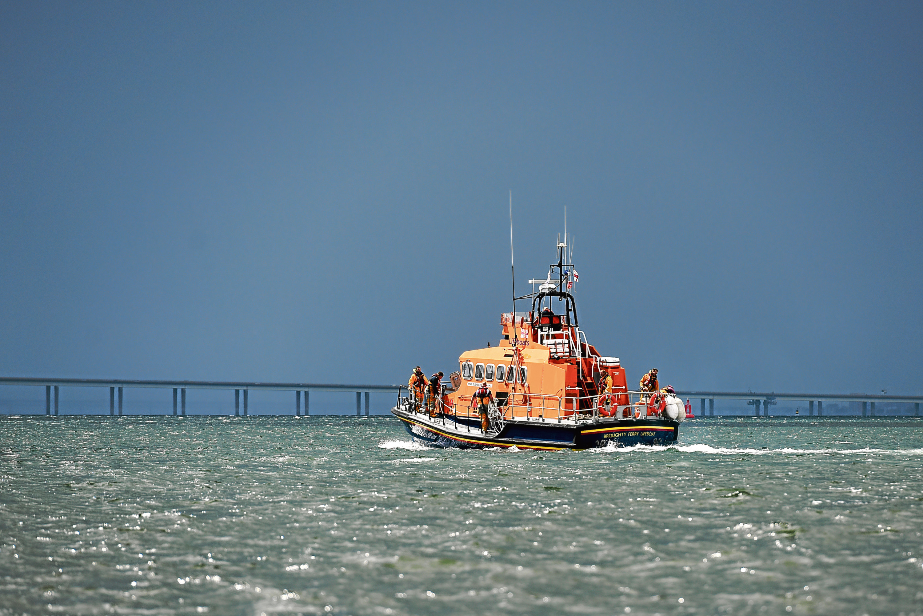 The Trent Class lifeboat based in Broughty Ferry out on another shout in the River Tay.