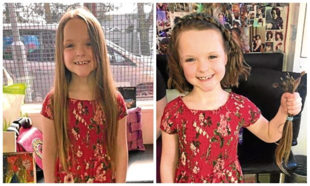 Little Amelie before and after her haircut