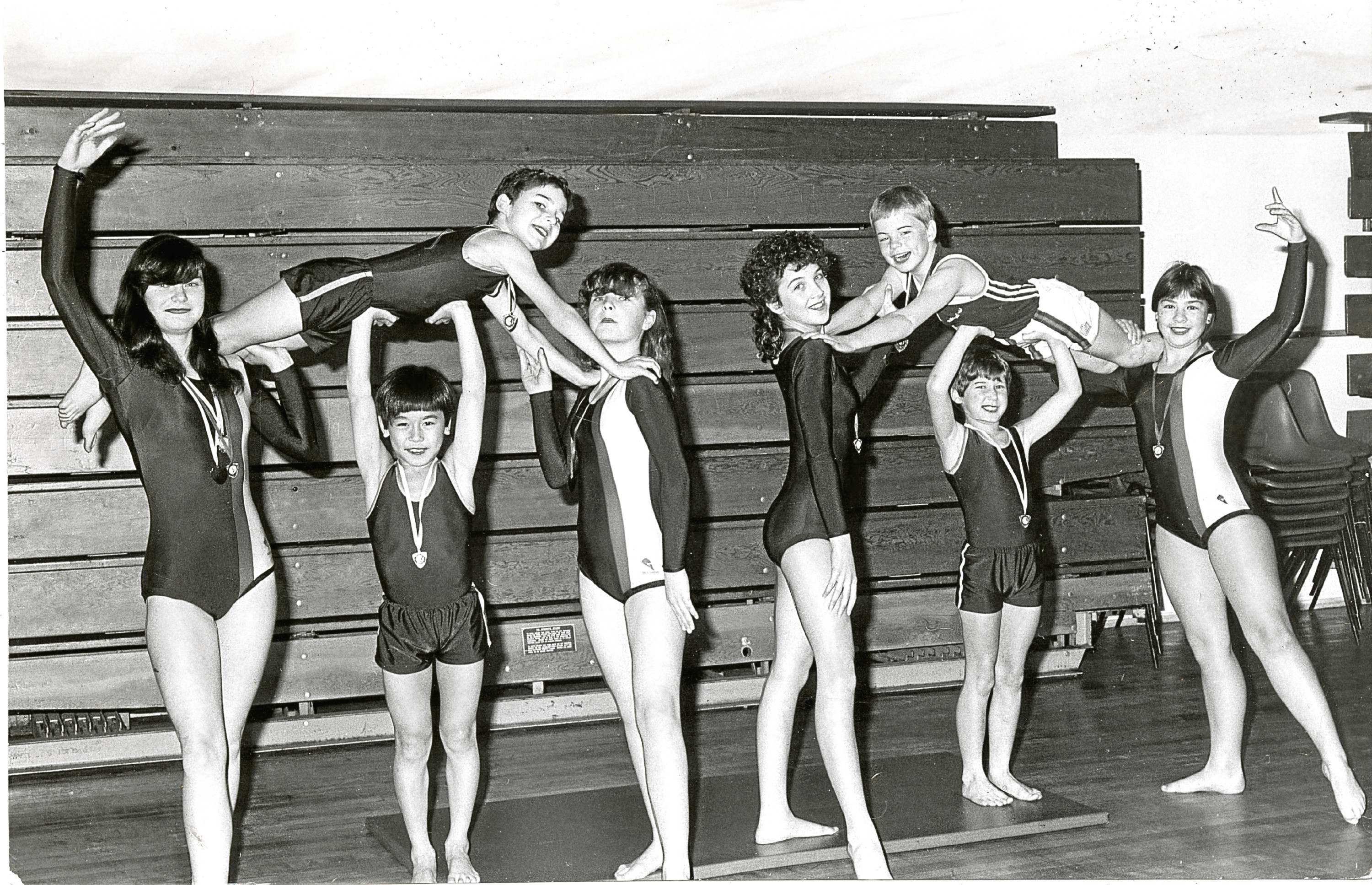 Gymnasts from St John's High School and St Joseph's Primary, Dundee pictured at Dudhope Arts Centre.  L-R: Hilary Duffy, Christopher Wylie, Ien-Soun_ly, Lesley Duffie, Kathryn Ruddy, Johnathan Lothian, Neil Boylan and Anne Barnett