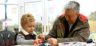 Picture shows three-year-old Oliver Heather with his grandad Steve Coward making a Dreamcatcher.